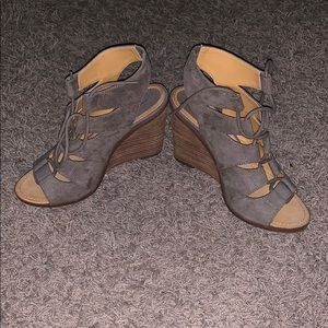 Lace up melrose and market wedges